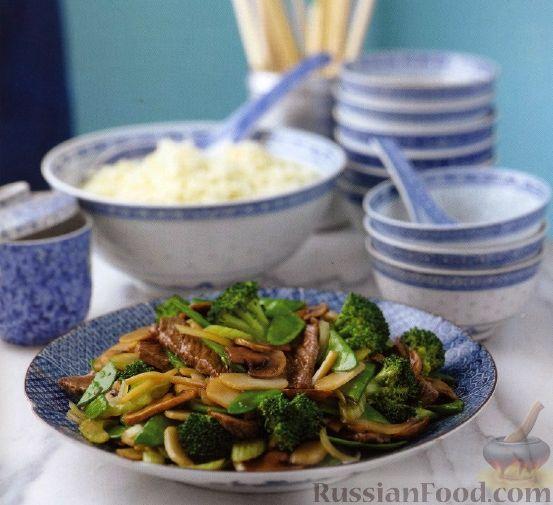Рецепт Мясо, жаренное с брокколи и каштанами