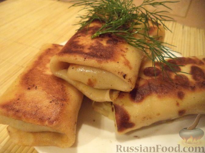 Рецепт Блины на молоке с печеночной начинкой