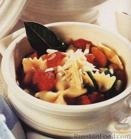 Рецепт Томатный суп с фасолью и макаронами