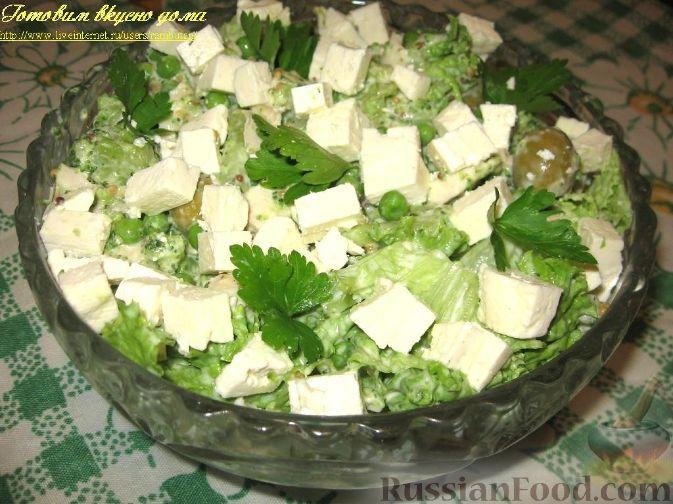 Рецепт Салат с брокколи, зеленым горошком и куриным филе