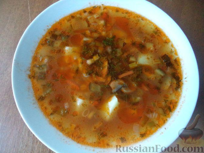 Рецепт Грибной суп с картофелем и солеными огурцами