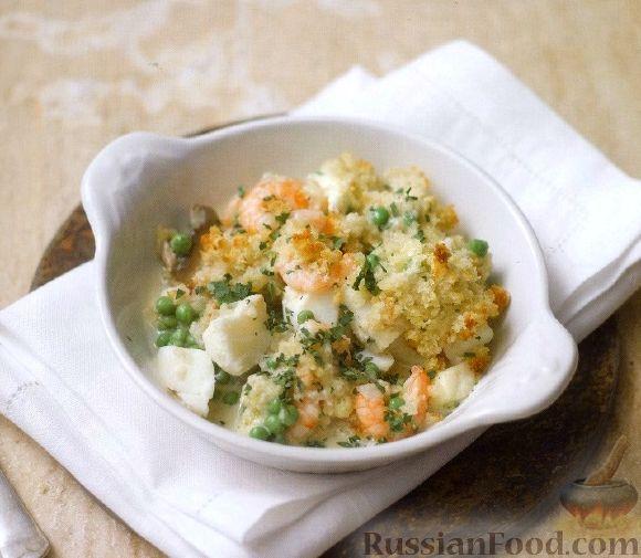 Рецепт Соус из рыбы, креветок, грибов и зеленого горошка