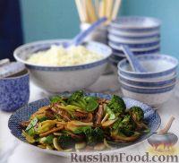 Фото к рецепту: Мясо, жаренное с брокколи и каштанами