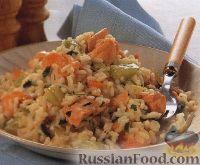 Фото к рецепту: Ризотто с огурцом, лососем и эстрагоном