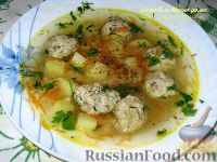 Фото к рецепту: Суп с фрикадельками из сельди