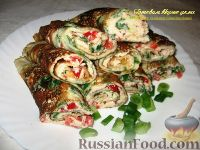 Фото к рецепту: Блины со шпинатом и болгарским перцем