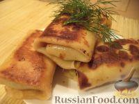 Фото к рецепту: Блины на молоке с печеночной начинкой