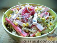 Фото к рецепту: Салат из капусты с крабовыми палочками