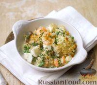 Фото к рецепту: Соус из рыбы, креветок, грибов и зеленого горошка