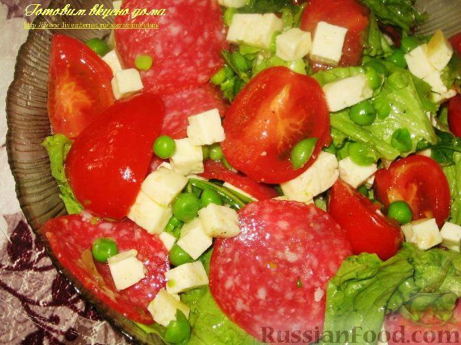 Рецепт Овощной салат с салями и сыром