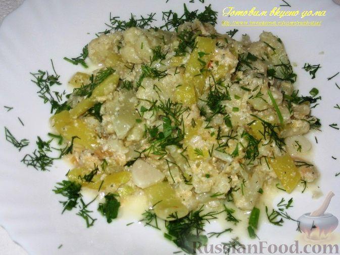 Рецепт Цветная капуста и стручковая фасоль, тушенные в сливках