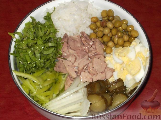 салат и печени трески и рисом рецепт