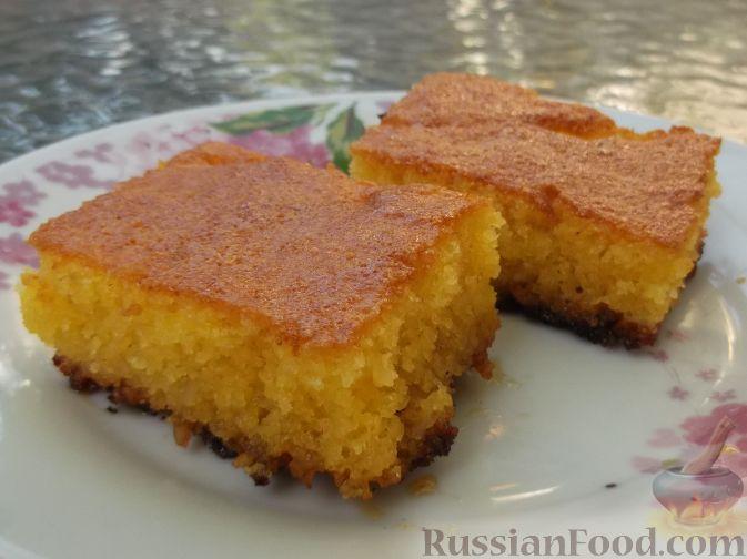 Рецепт Ревани (сладкий пирог с сиропом, из манной крупы, муки и яиц)