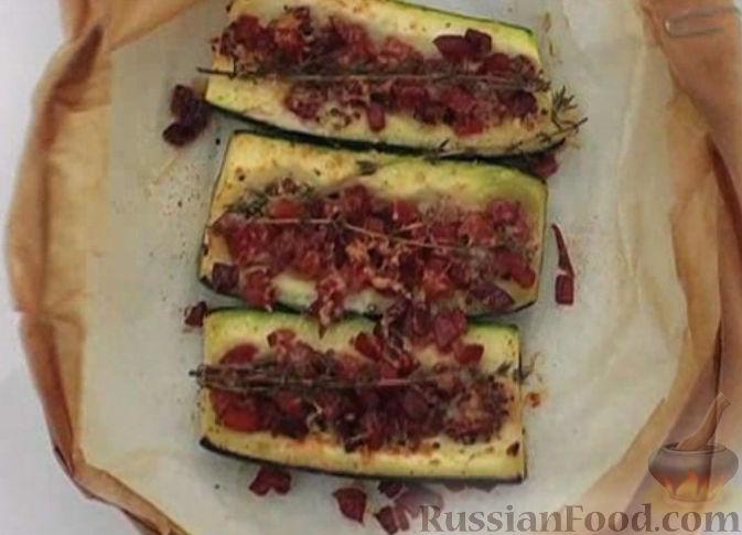 Рецепт Запеченный кабачок с ветчиной