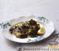 Фото к рецепту: Сибас с оливковым соусом