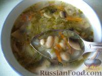 Фото к рецепту: Фасолевый суп с шампиньонами