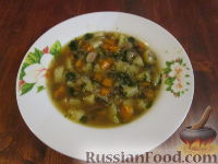 Фото к рецепту: Грибной суп с чечевицей