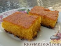 Фото к рецепту: Ревани (сладкий пирог с сиропом, из манной крупы, муки и яиц)