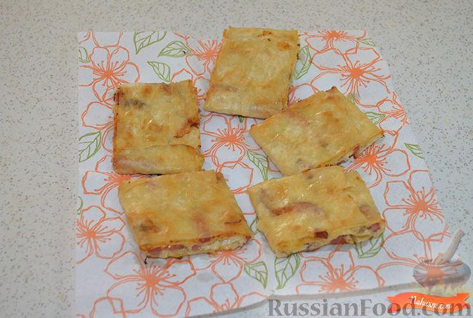 Жареный лаваш с колбасой и сыром пошаговый рецепт