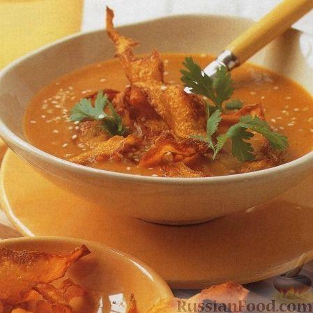 Рецепт Тыквенный суп-пюре с чипсами