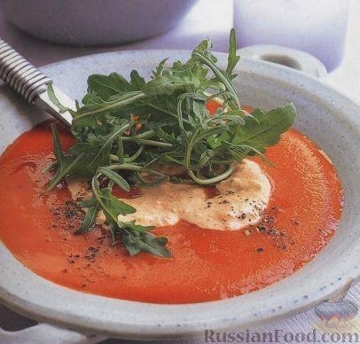 Рецепт Томатный суп-пюре со сметанным кремом
