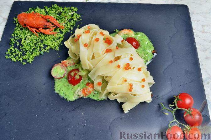 Рецепт Фетучини со сливочным соусом с донскими раковыми шейками