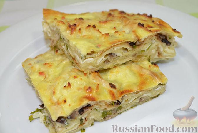 Рецепт Запеканка из лаваша с сыром и грибами
