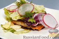 Фото к рецепту: Брускетта с копченым лососем на муссе из баклажана