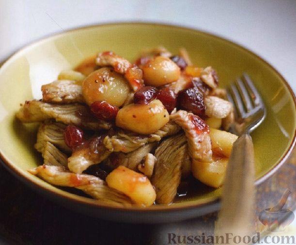 Рецепт Индюшиное филе с имбирем и каштанами
