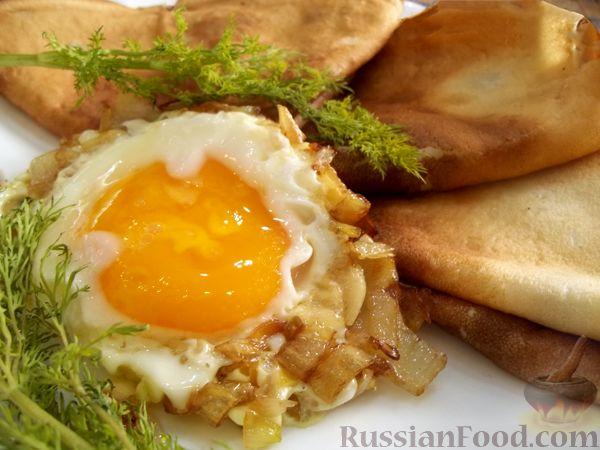 Рецепт Блинчики с яичницей