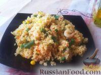 Фото к рецепту: Булгур с креветками и овощами