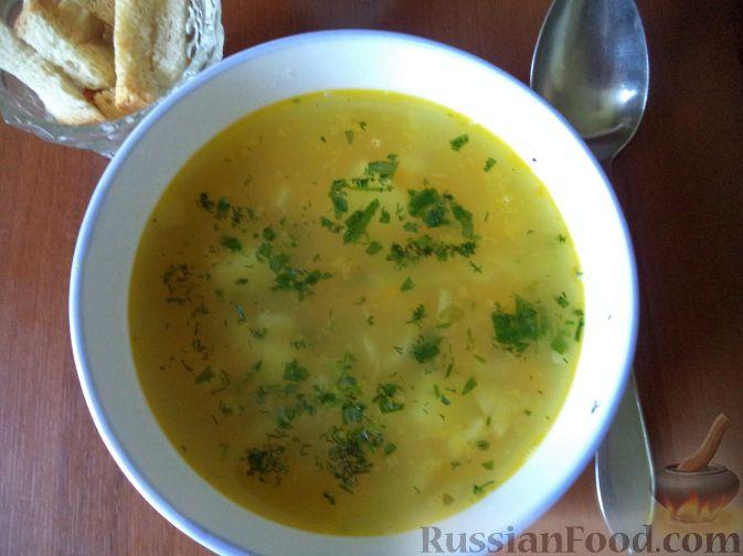Рецепт Чечевичный суп с зеленым горошком
