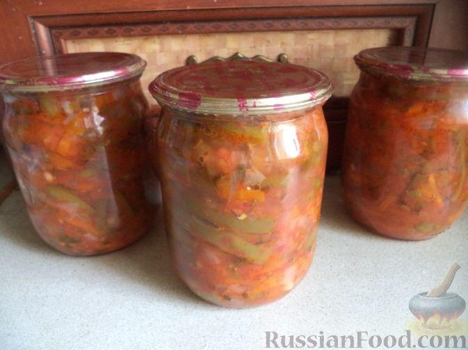 Рецепт Фасоль стручковая в томате с овощами