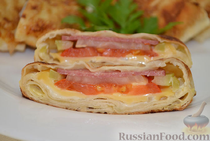 Рецепт Жареный в яйце лаваш с начинкой
