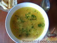 Фото к рецепту: Чечевичный суп с зеленым горошком