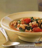 Фото к рецепту: Фасолевый суп с индейкой и шпинатом