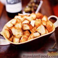 Фото к рецепту: Крутоны (гренки) луковые