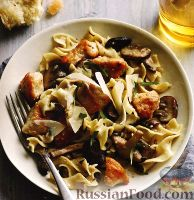 Фото к рецепту: Лапша с курицей и грибами