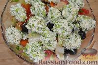Фото к рецепту: Овощной салат с сырными шариками