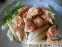 Фото к рецепту: Паста с курицей и помидорами