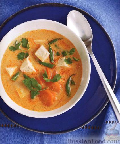 Рецепт Суп на кокосовом молоке с сыром тофу и стручковой фасолью