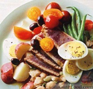 Рецепт Жареный тунец с картофелем и стручковой фасолью