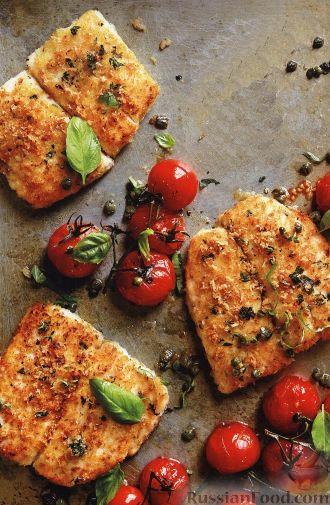 Рецепт Жареная камбала с печеными помидорами
