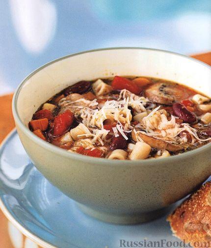 Рецепт Фасолевый суп с макаронами и грибами