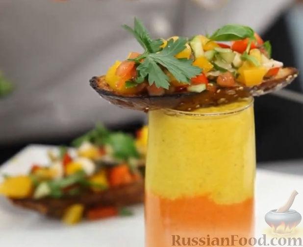 Рецепт Желто-красный гаспачо и брускетта с салатом