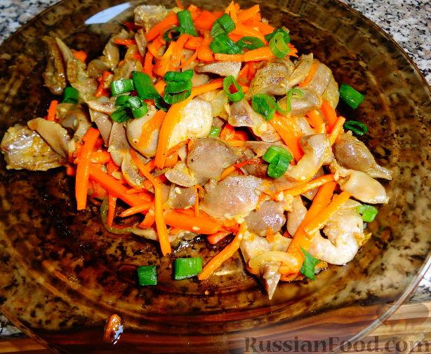 Рецепт Желудочки куриные по-корейски