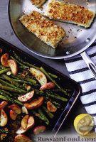 Фото к рецепту: Палтус в ореховой панировке с жареной спаржей