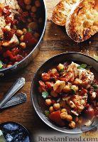Фото к рецепту: Томатное рагу с колбасой, палтусом и нутом
