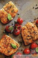 Фото к рецепту: Жареная камбала с печеными помидорами