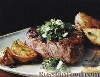 Фото к рецепту: Жареные стейки с соусом гремолата